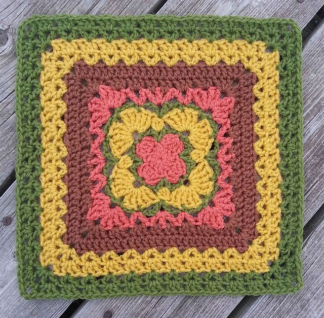 """This square was originally designed to be 12"""" x 12"""". You can work it in a smaller or larger size yarn with an appropriate size hook, just be sure all your squares that you are joining together work well with each other."""