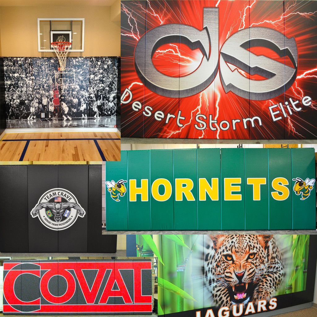Custom Wood Backed Gym Wall Padding Panels 2' x 6' (With