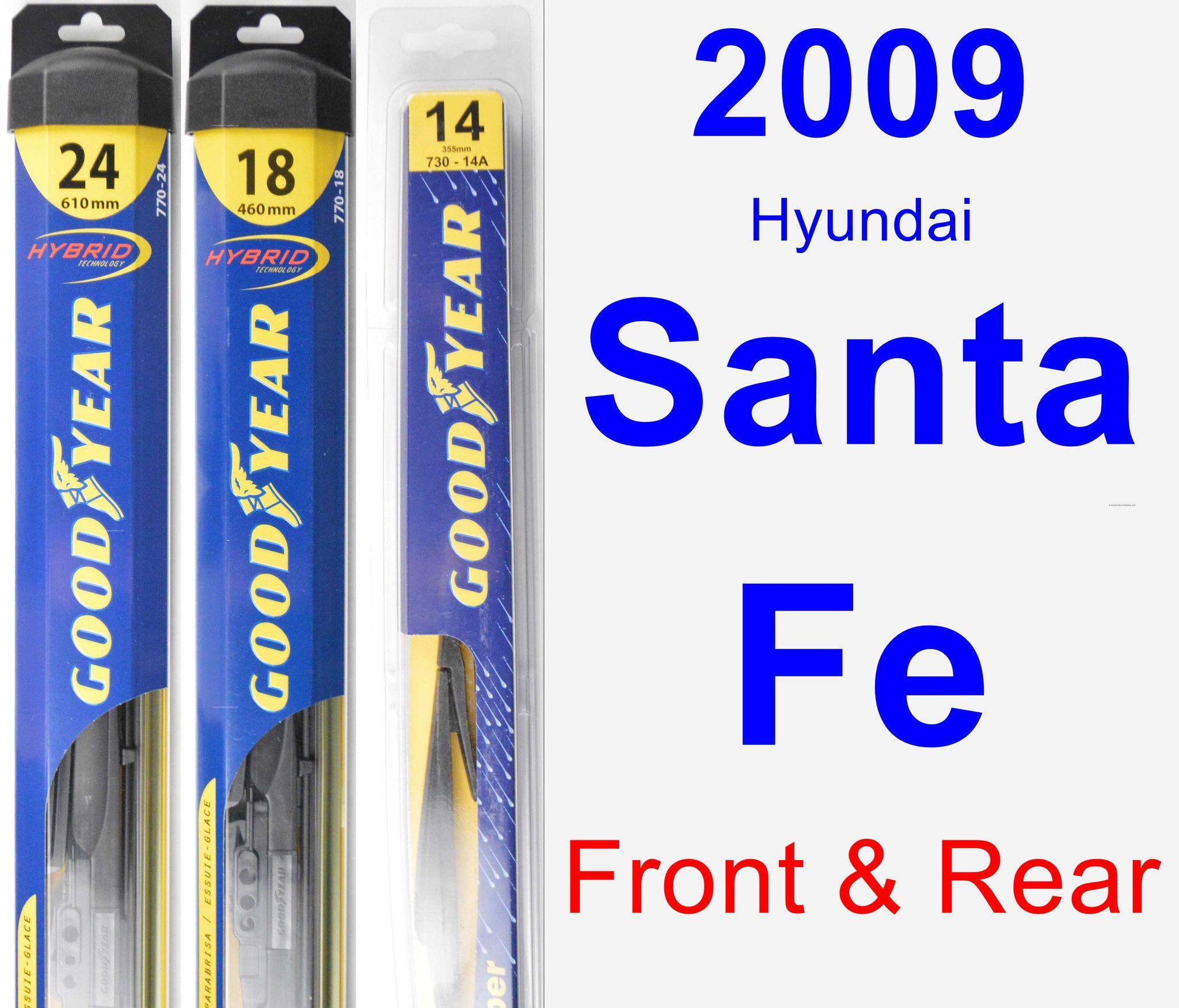 Front & Rear Wiper Blade Pack For 2009 Hyundai Santa Fe