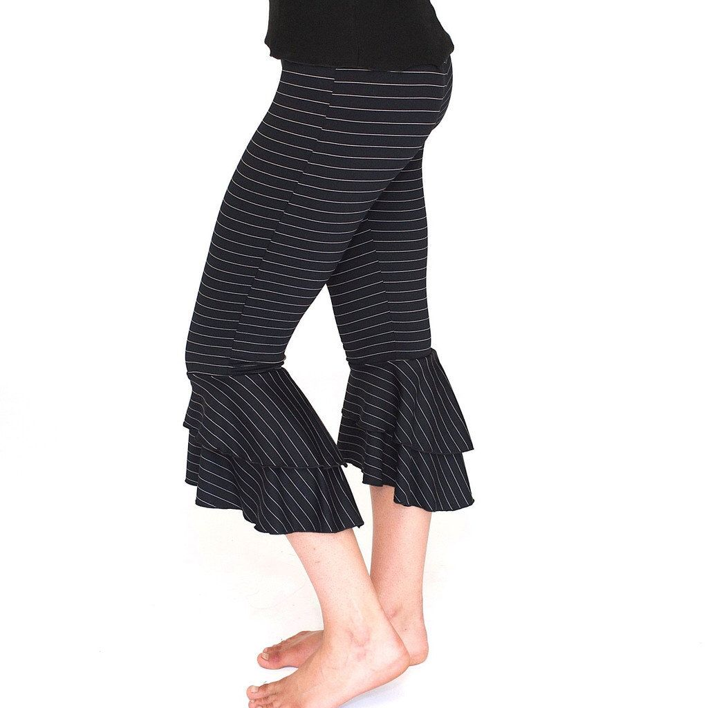 Ruffle Capri Pants / bloomers festival clothing - Pinstripe RUFFLE ...
