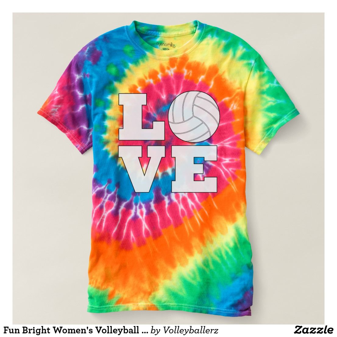 Fun Bright Women S Volleyball Love Tie Dye T Shirt Zazzle Com