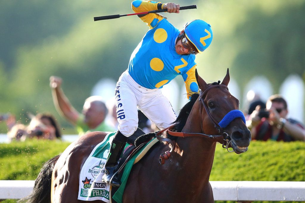 Victor Espinoza rode American Pharoah to victory in the Belmont Stakes on Saturday, becoming the first horse since 1978, and the 12th over all, to sweep the Triple Crown races.