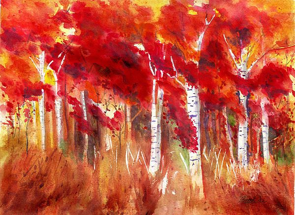 Autumn Bright by Bette Orr. A most amazing watercolor! It is simply on fire. Love every bit of it.