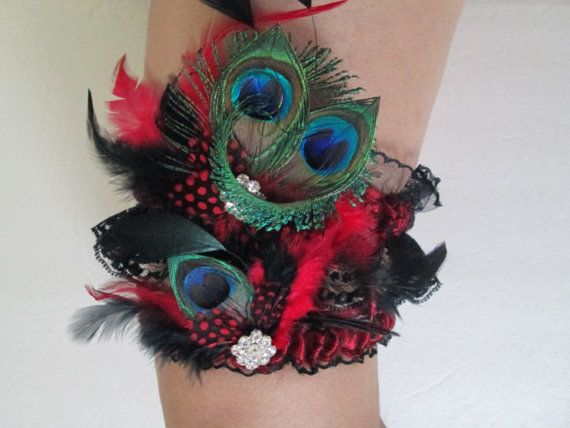 RED WEDDING Garter Set Black Lace Bridal Garters PEACOCK Red Prom Burlesque Pinup Harlequin Wedding