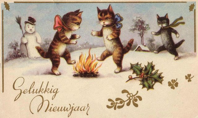 vintage dutch happy new year postcard happy new year greetings new year greeting cards