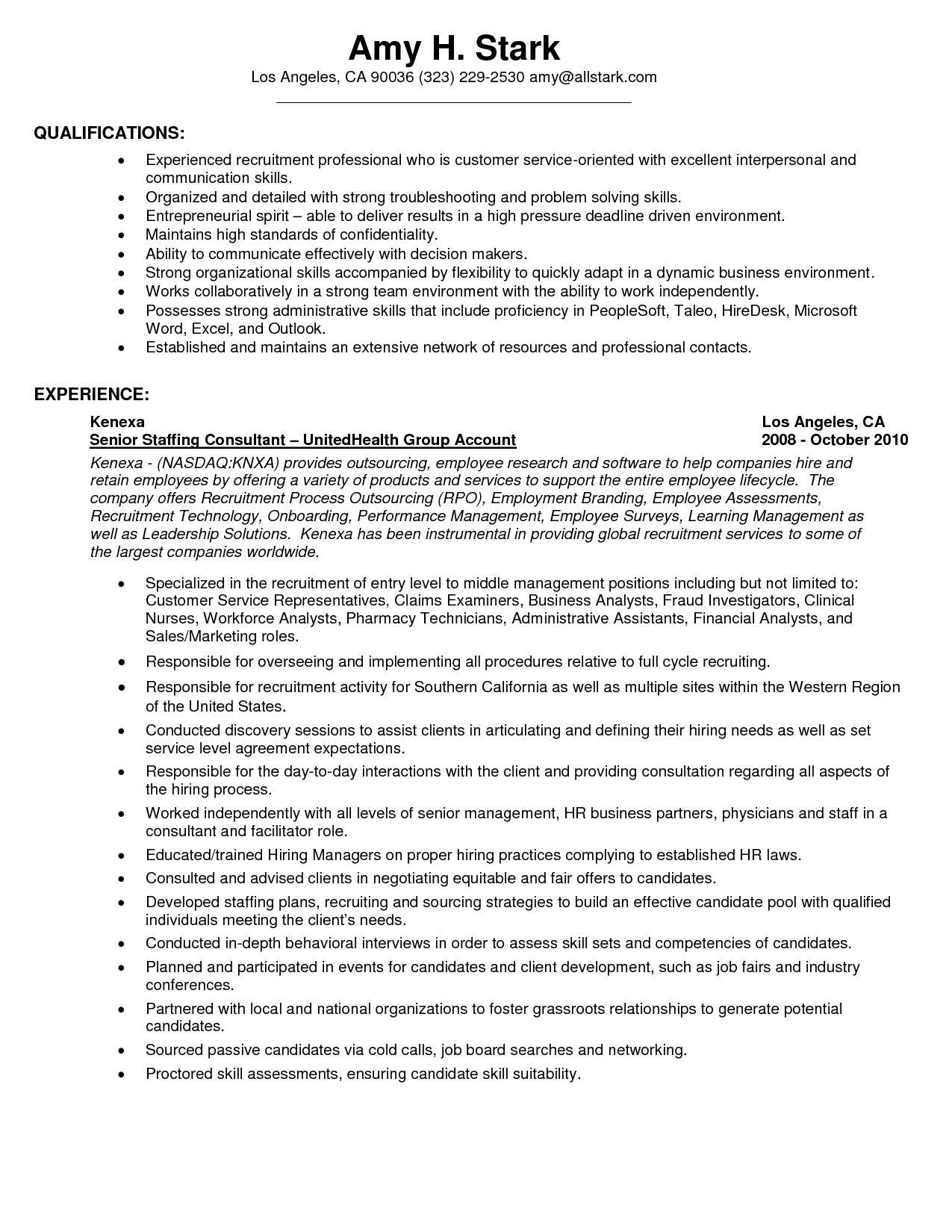 example of a strong resume