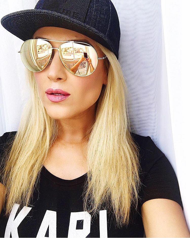 Chic Mirrored sunnies via  HelenBurken. Gold Mirrored Aviator Sunglasses  and Karl is My Father tee from t+j Designs. 10ecce8b0be