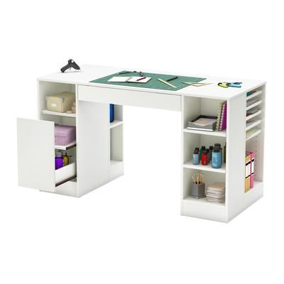 Perfectly designed for function this white craft table from the South Shore Crea collection is the perfect work space. Featuring multiple shelves and ...  sc 1 st  Pinterest & South Shore - Crea Craft Table Pure White - 7550727 - Home Depot ...