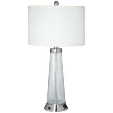 Mischa Brushed Steel USB Port Table Lamp With Power Outlet