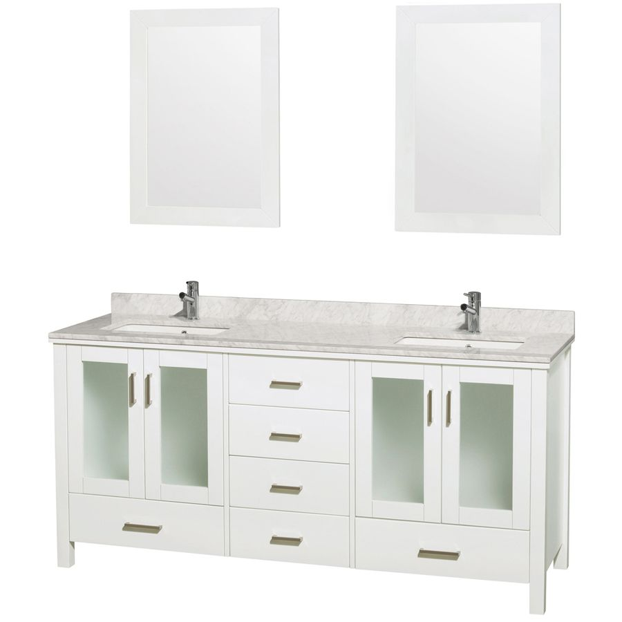 Wyndham Collection Lucy 72 In White Double Sink Bathroom Vanity With White Carrera Natural Mar Double Vanity Bathroom Oak Bathroom Vanity White Vanity Bathroom