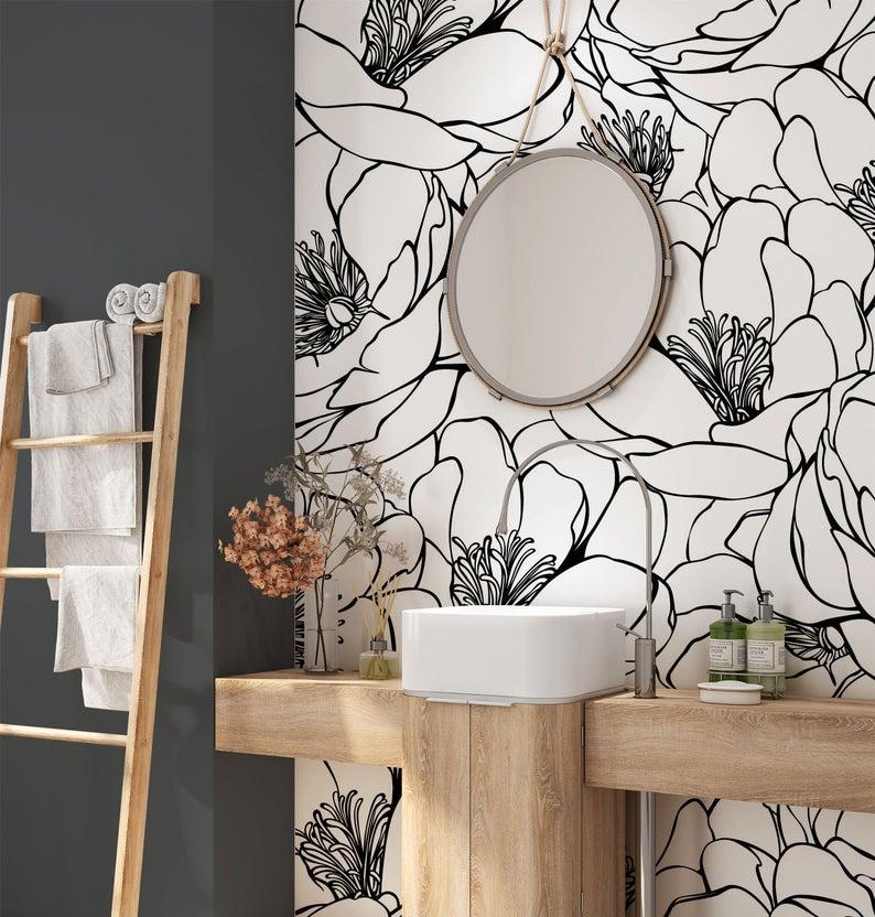 Flower Wall Mural Removable Minimalist Wallpaper Design Peel And Stick Wallpaper Self Adhesive Wallpaper 057 Small Bathroom Wallpaper Bathroom Wallpaper Modern Powder Room Wallpaper