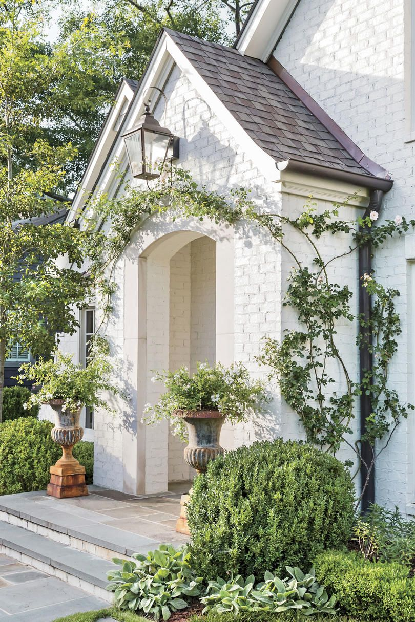 How Landscaping Added Instant Charm To This New Birmingham Home White Brick Houses Brick Exterior House Exterior Brick
