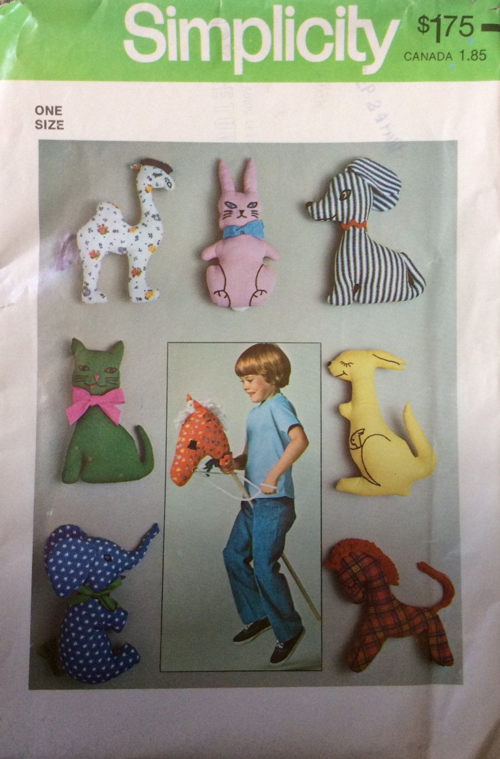 Simplicity 7744 UNCUT Set of Stuffed Toys by