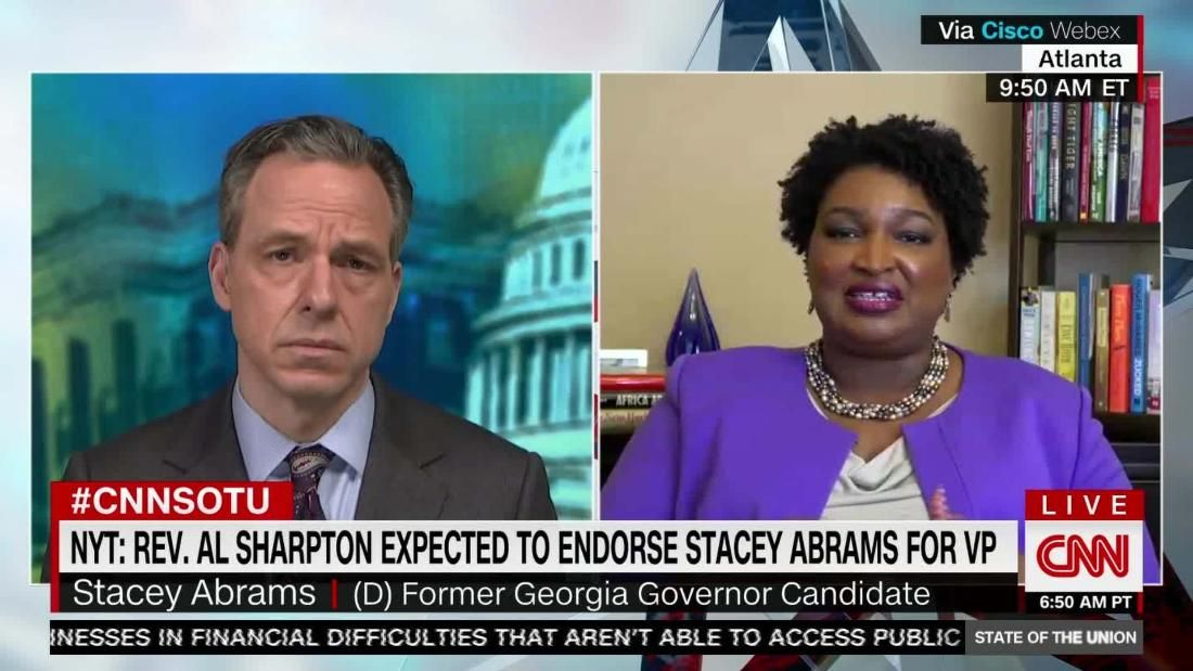 Stacey Abrams On Biden Vp Speculation In 2020 Cnn State Of The Union Michigan Gov