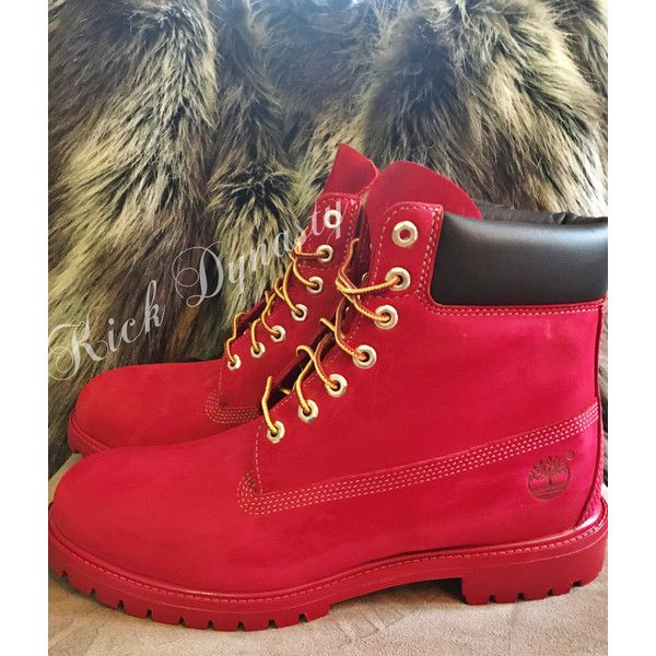 15% OFF SALE All Red Custom Dyed Timberland Boots Suede ❤ liked on Polyvore  featuring