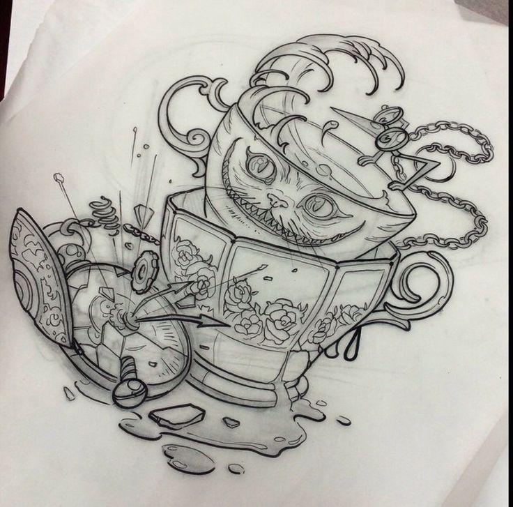 105+ Fairy Alice in Wonderland Tattoo - Designs & Ideas 2019  |Alice Tea Tattoo
