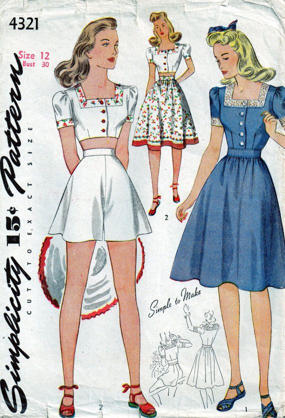Vintage 1940s Simplicity Playsuit Sewing Pattern. I have this ...