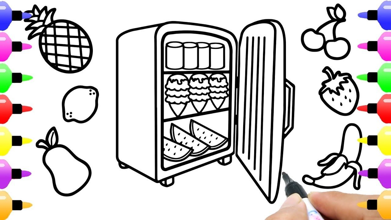 How to Draw Refrigerator for Kids - Shark Coloring Book for Children ...