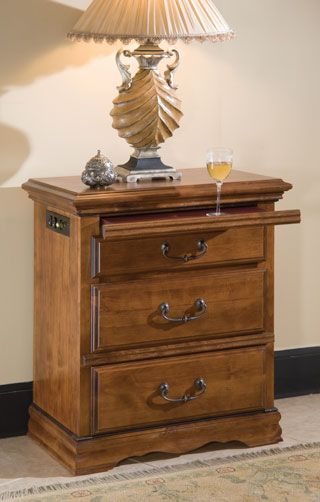Alder Hill 3 Drawer Night Stand With Hidden Pull Out Tray