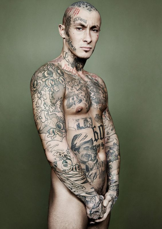 Mafioso strip tattooed inked nude naked sexy woman stripper urban white t shirt