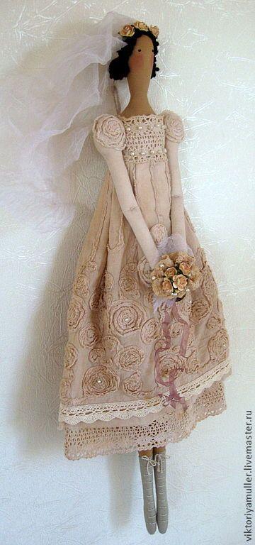 """Купить текстильная кукла ручной работы тильда """" Винтажная невеста"""" - бежевый, тильда"""