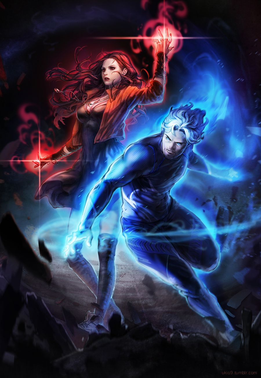 quicksilver and scarlet witch concept art for avengersage