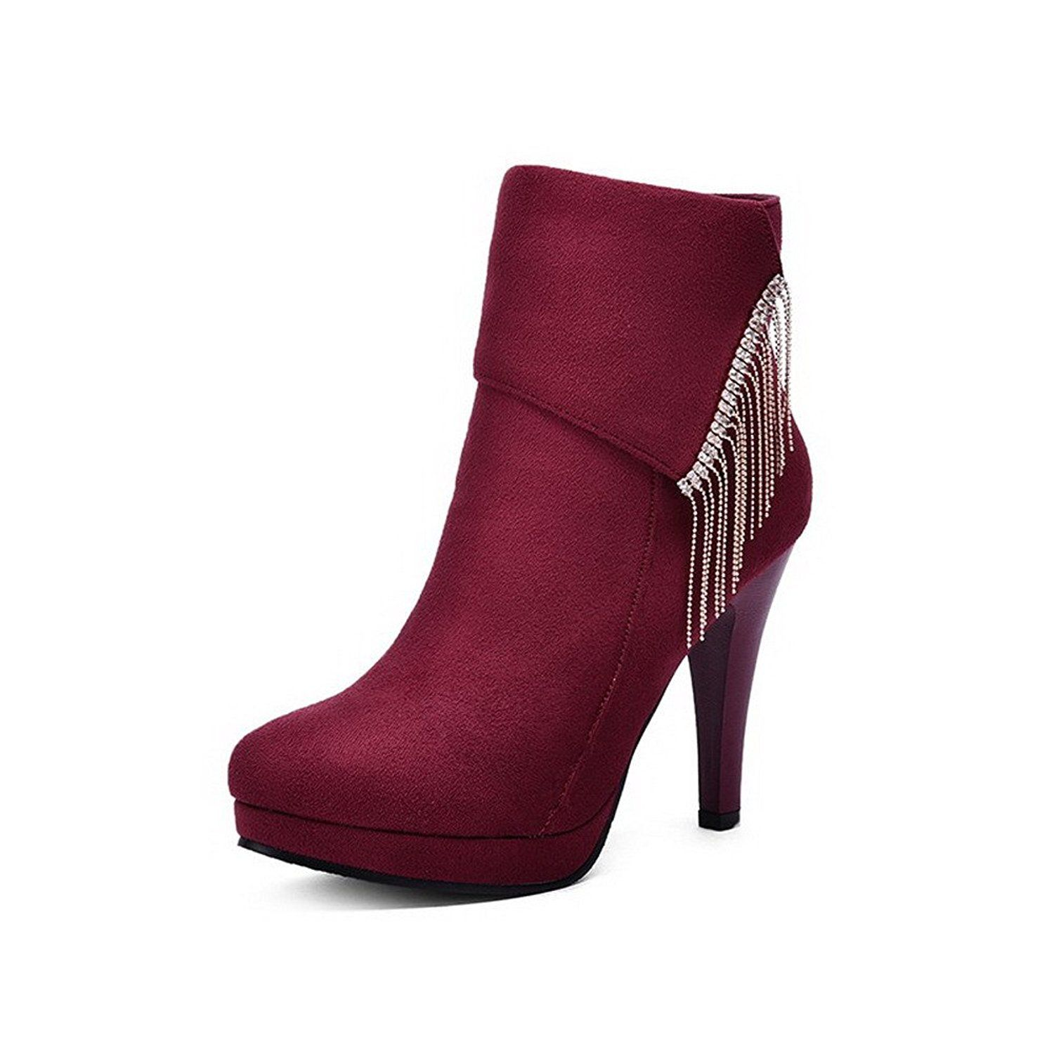 Women's Zipper Round Closed Toe High-Heels Imitated Suede Boots with Crystals