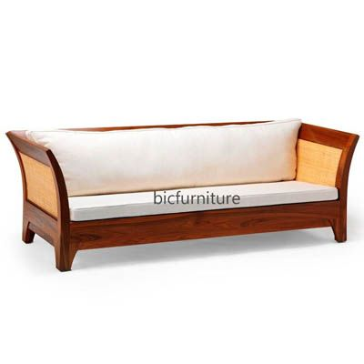 Stylish 3 Seater Sofa Made In Complete Teakwood By Bic In 2020 Wood Sofa Wooden Sofa Set Designs Wooden Sofa
