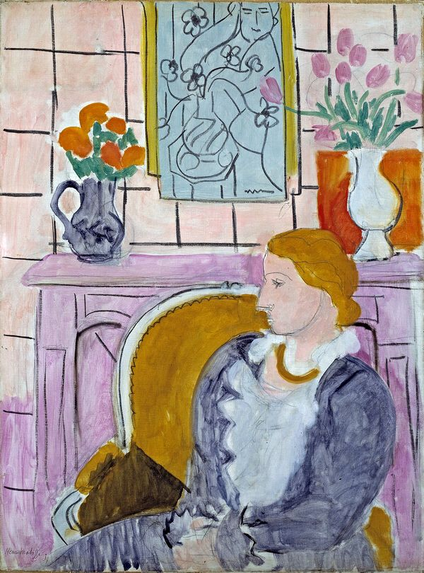 Woman in blue in front of a fireplace, 1937...Henri Matisse