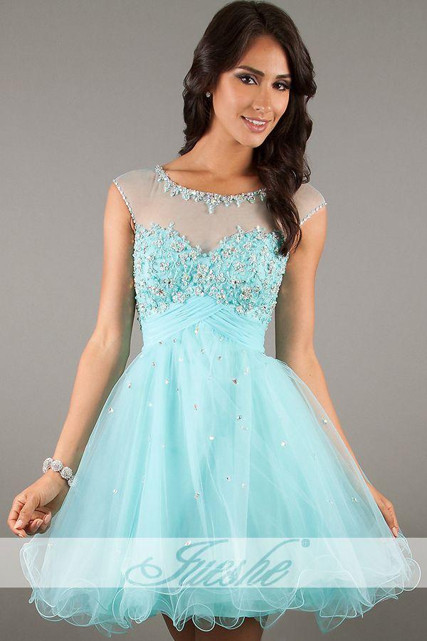 Light Blue Short Illusion Bateau Empire Tulle Homecoming Dress