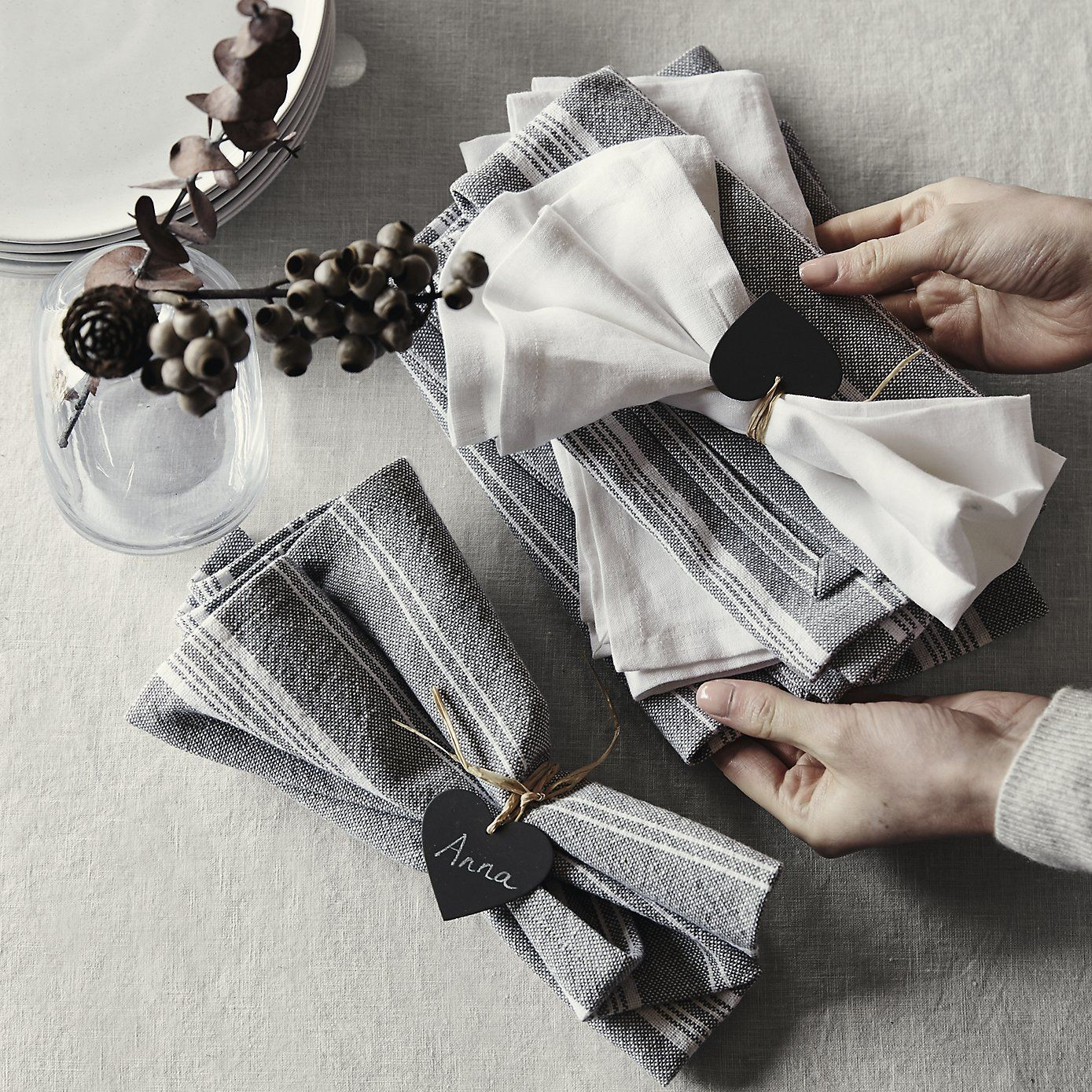lewes stripe napkin s 4 white grey the white company shopping