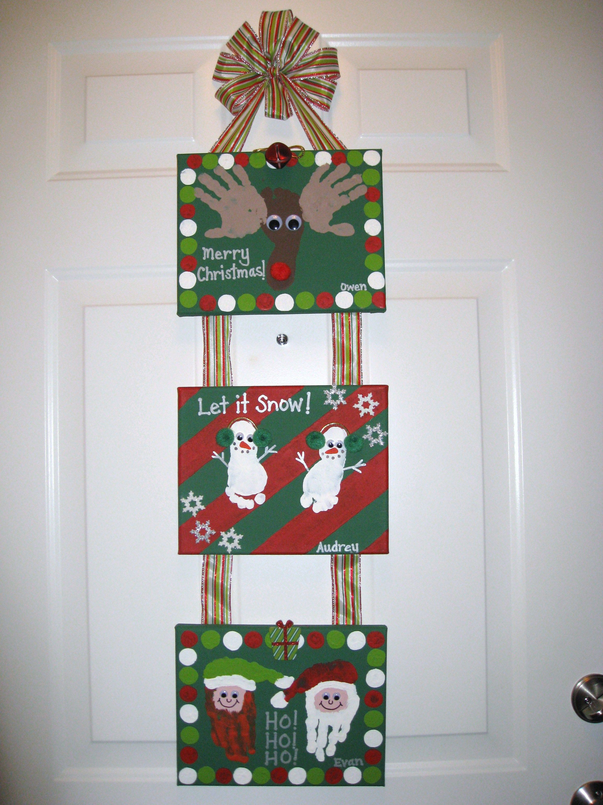 Christmas Handprint Footprint Canvas Craft | Kid craft ideas ...