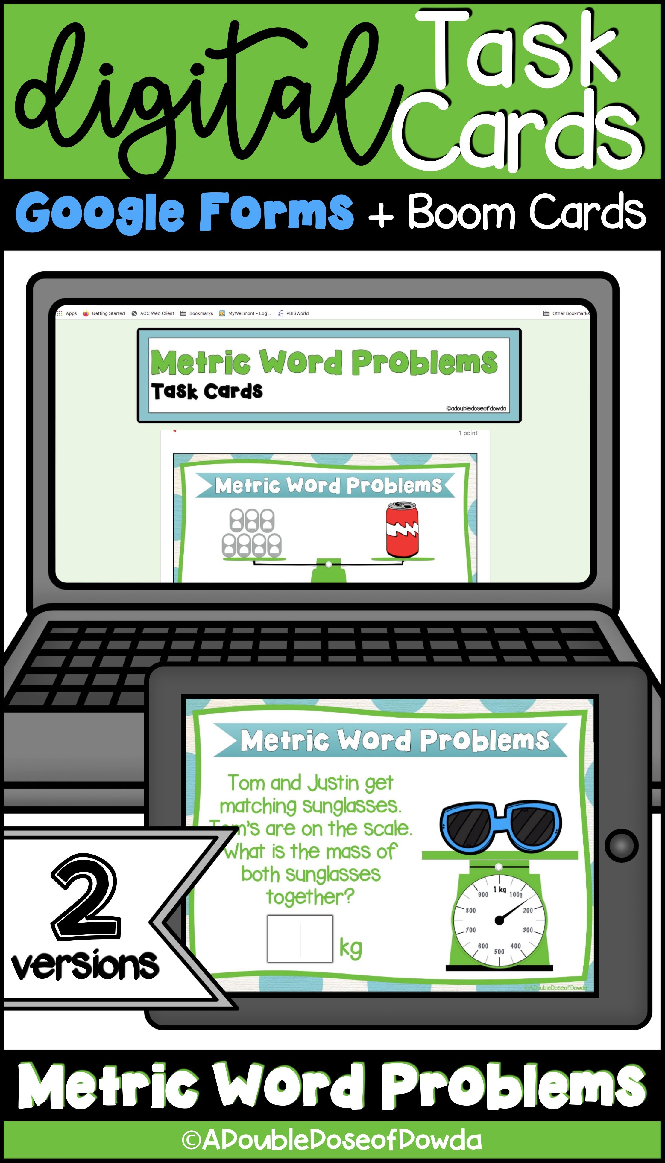 Metric Word Problems Task Cards For Classroom And