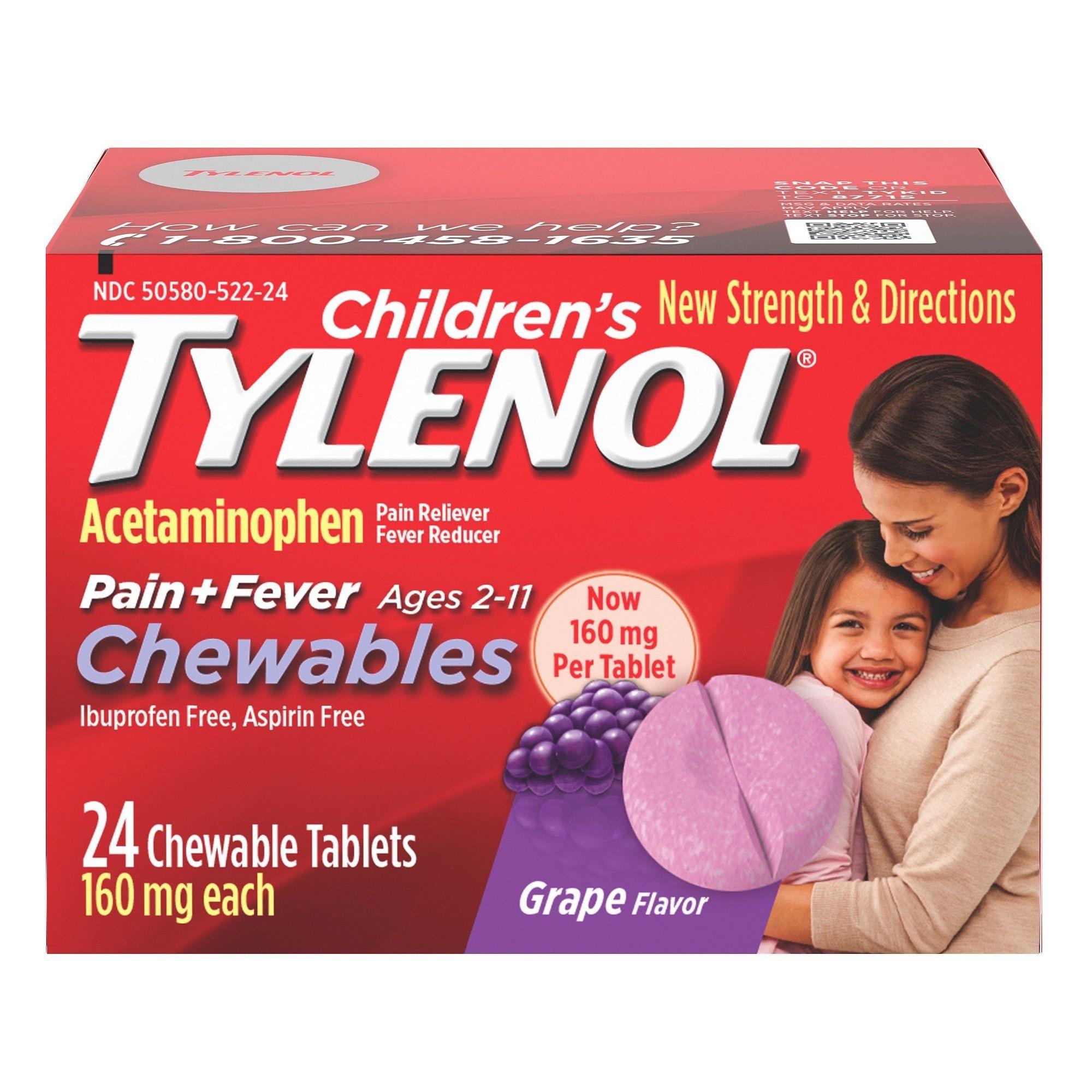 Tylenol childrenus pain relief chewables grape ct pain
