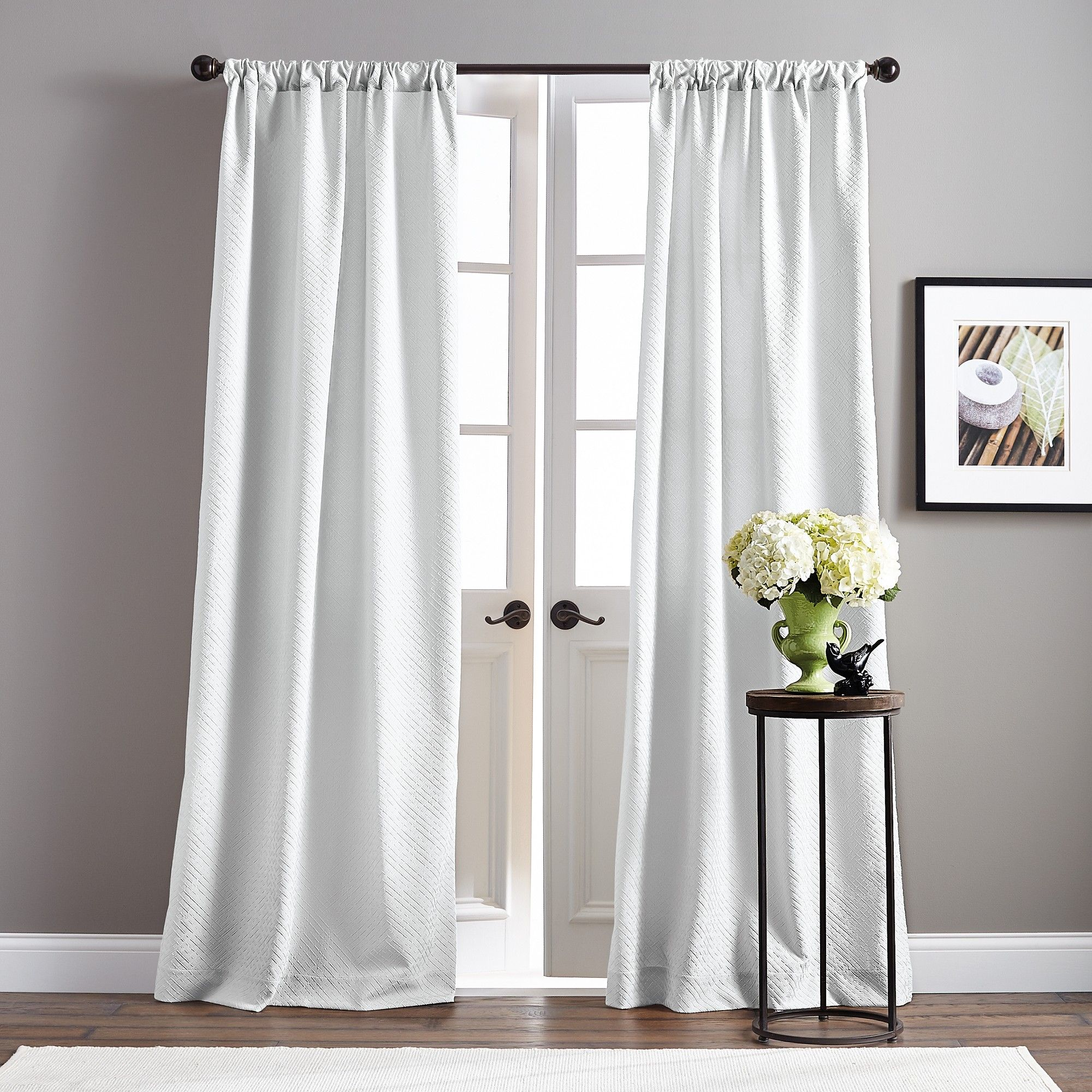 63 Basket Poletop Pair Curtain Panel White Products In 2019