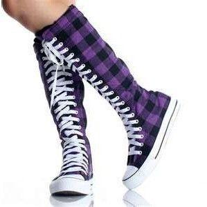purple plaid knee hgih converse! | Womens knee high boots
