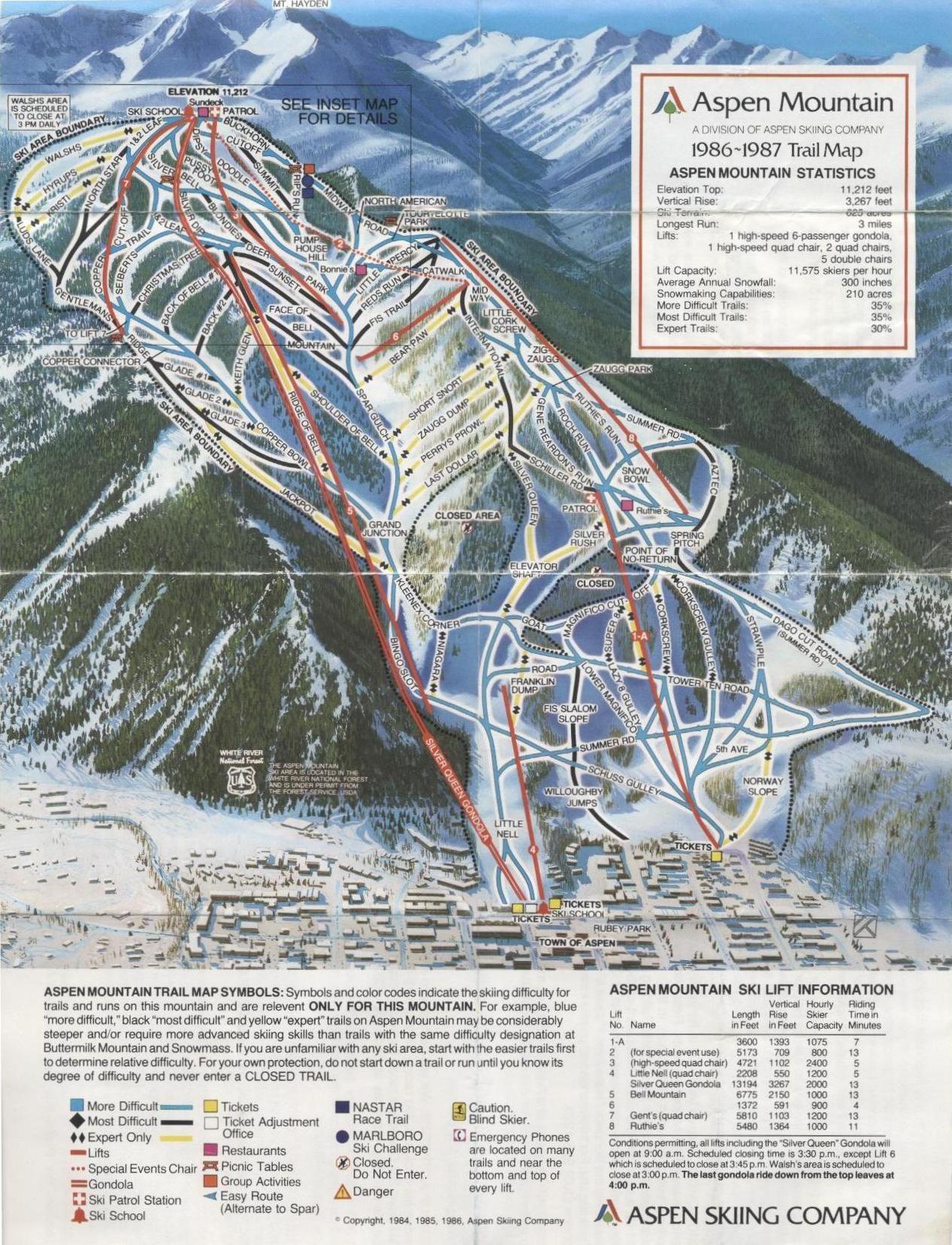 Published In 1986 At Aspen Mountain Aspen Mountain Aspen Trail Maps