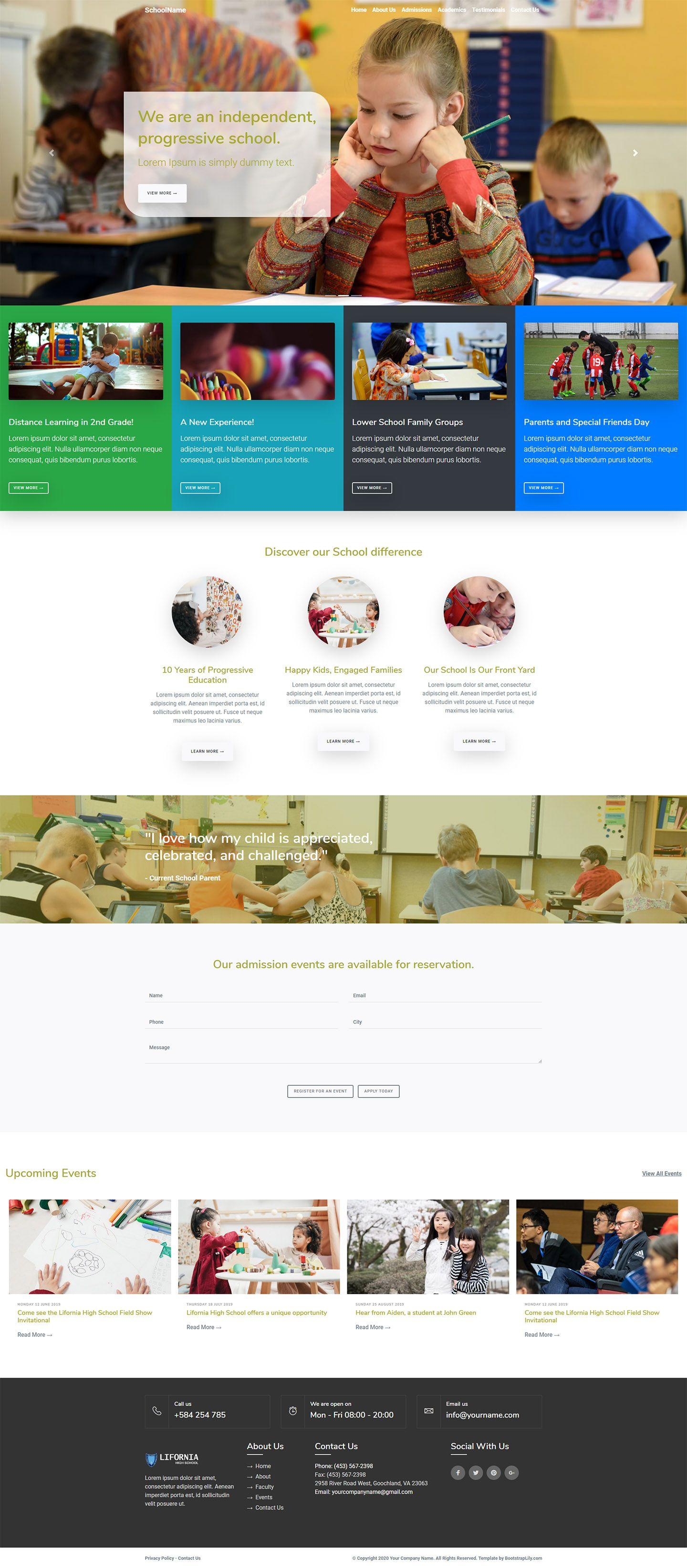 Free bootstrap school template in 2020 School template