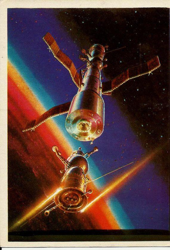 Vintage Space Postcard A 1982 Sokolov Vostok