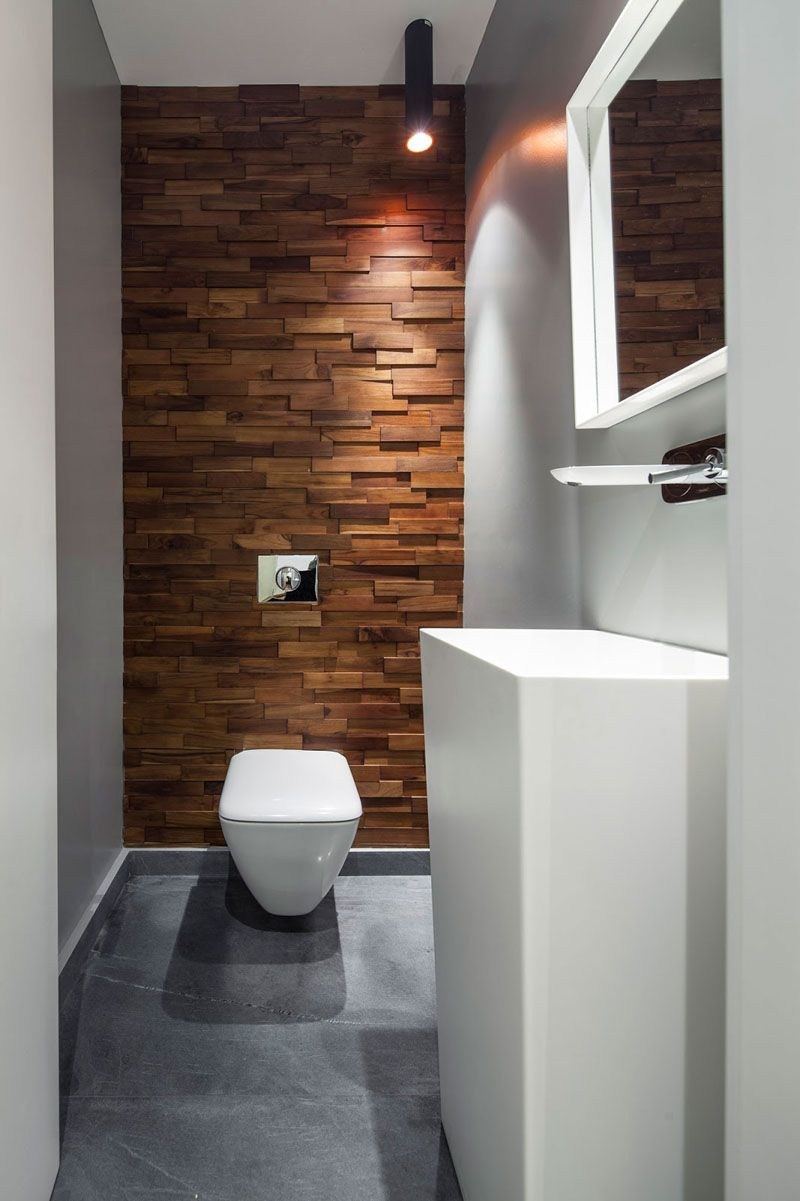 Accent Wall Ideas 12 Different Ways To Cover Your Walls In Wood Thin Wood Blocks Running Up This Wall Sof Wall Cladding Wood Accent Wall Bathrooms Remodel