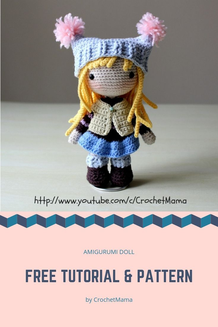 Free Crochet Doll Amigurumi Tutorial and Pattern #crochetamigurumifreepatterns