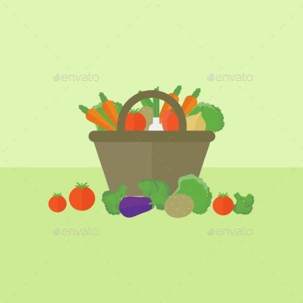 Vegetable Background Raw restaurant, Flat design and Font logo - fresh invitation template vector