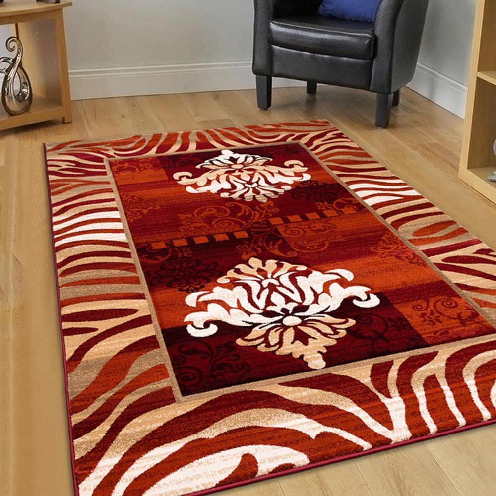 Allstar Rugs Rust Hand Carved Indian Print Design Area Rug Size 7 9