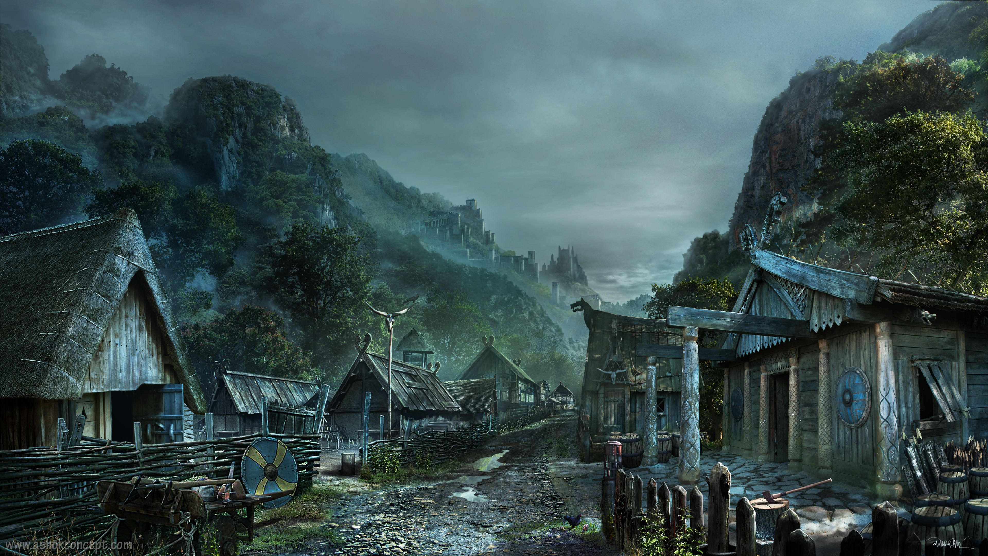 Viking village concept art google vikings - Art village wallpaper ...