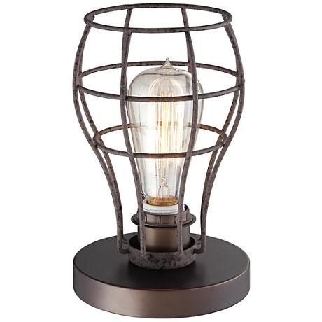 Oldham Industrial Uplight 9 1 2 H Edison Bulb Table Lamp 8x335 Lamps Plus Edison Bulb Table Lamp Lamp Table Lamp