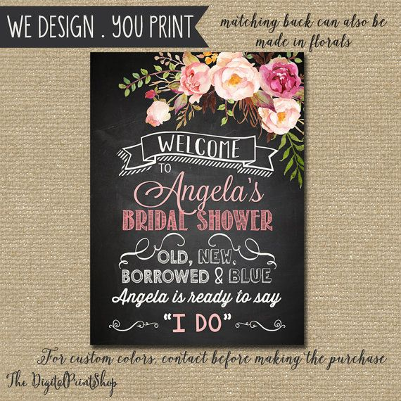 Rustic Bridal shower Welcome Sign Watercolor cottage Chic ...