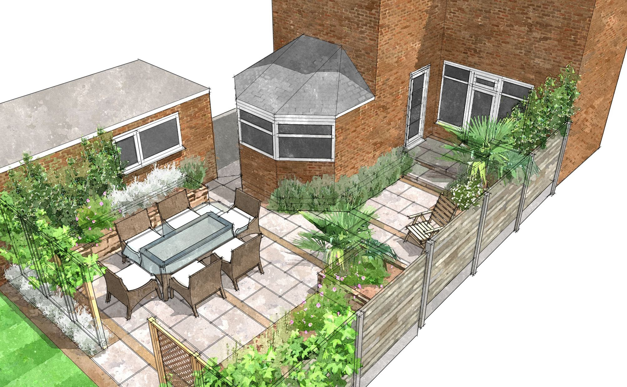 Garden Design Plan by Sally Bishton SketchUp by Gaynor Witchard