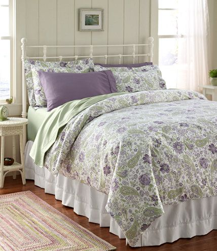 l l bean wrinkle resistant comforter cover floral in rustic purple paisley purple and green. Black Bedroom Furniture Sets. Home Design Ideas