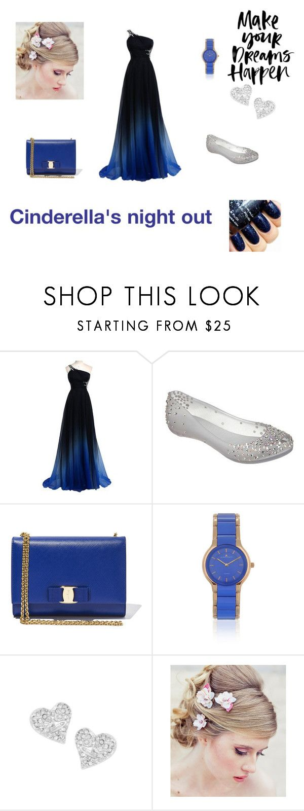 """""""Cinderella's night out"""" by tillythom ❤ liked on Polyvore featuring Melissa, Salvatore Ferragamo, Jacques Lemans, Vivienne Westwood, women's clothing, women, female, woman, misses and juniors"""