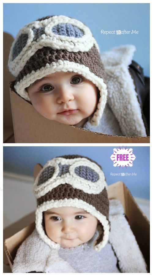 Crochet Baby Aviator Hat Kostenlose Häkelanleitungen - Video  #crochethatpatterns